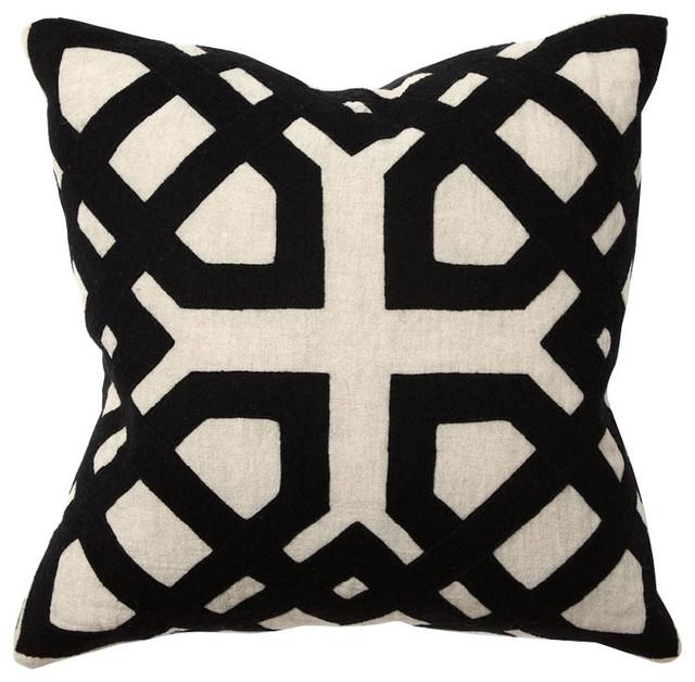 Villa Home African Mod Black Khwai Applique Throw Pillow Inspiration Villa Decorative Pillows