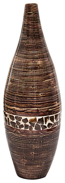 Maya 31 Spun Bamboo Floor Vase Dark Brown With Brown Coconut Shell