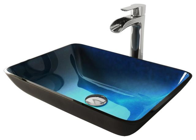 Vigo Rectangular Turquoise Water Glass Vessel Bathroom Sink And Niko Faucet Set Contemporary Sinks By Buildcom Houzz