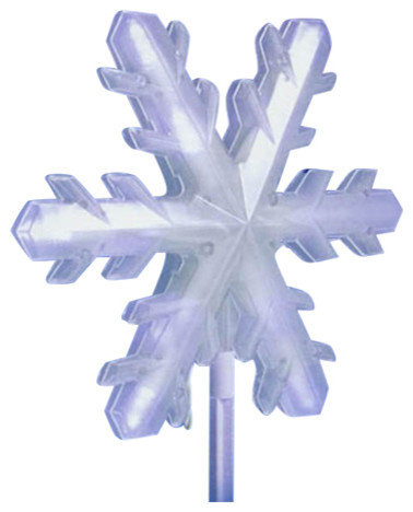 Pure White Frosted Led 3-D Snowflake 4-Piece Christmas Pathway Markers Set