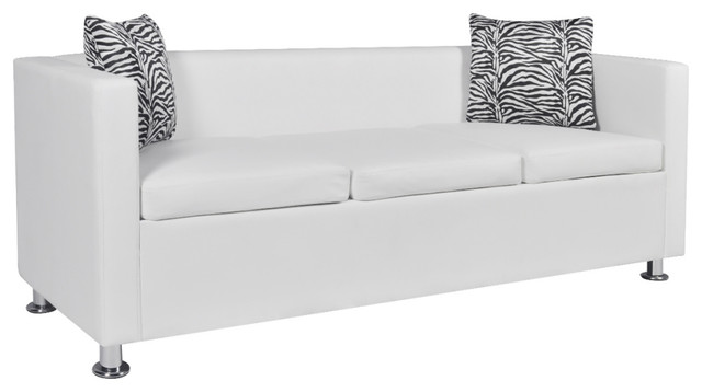 Vidaxl Sofa 3 Seater W 2 Pillows Modern White Artificial Leather Living Room