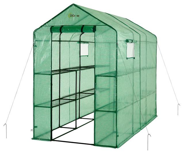 Extra Large Heavy Duty Walk-In 2-Tier 12-Shelf Portable Lawn, Garden Greenhouse.