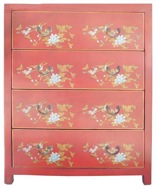Chinese Red Vinyl 4 Drawers Flower Bird Dresser Cabinet Hcs1560 - Asian - Dressers - by Golden ...