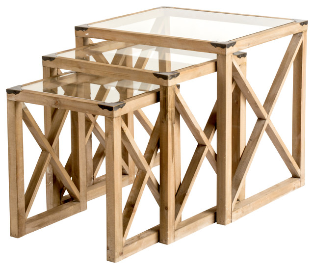 Emme Nesting Tables Set Of 3 Rustic Coffee Table Sets By Statements By J