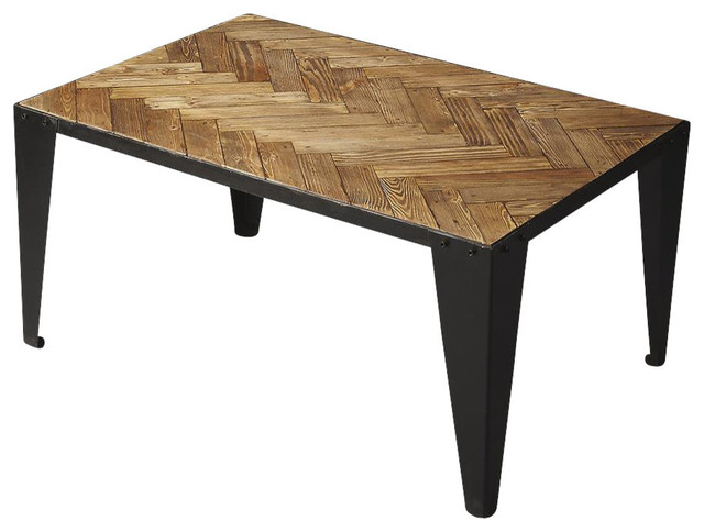 Cocktail Table Moderate Distressed Finish Contemporary
