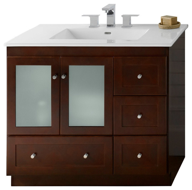 Ronbow Shaker Solid Wood 36 Quot Vanity Set With Ceramic Sink