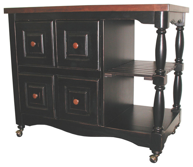 Sunset Trading 4 Drawer Kitchen Cart in Antique Style Black