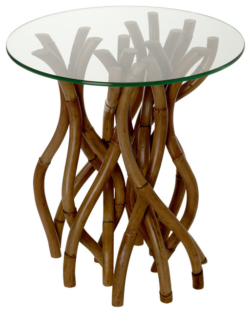 Twisted Rattan Side Table With Glass Top Tropical Side Tables