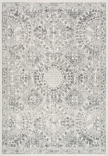 Traditional Vintage Honeycomb Labyrinth Rug, Gray, 4u0027x6u0027 Contemporary Area