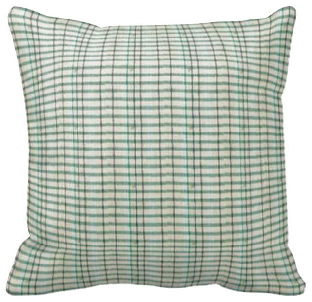 Green Plaid Throw Pillow : Green Plaid Toss Pillow, 16