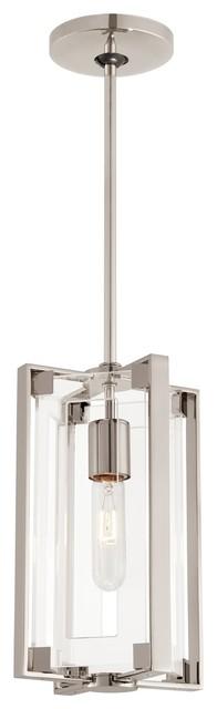 George Kovacs Crystal Clear 1-Light Mini Pendant, Polished Nickel