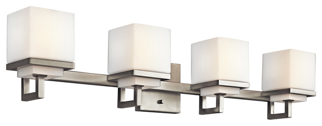 Contemporary Bathroom Vanity Lights kichler 4-light bath light, brushed nickel - contemporary