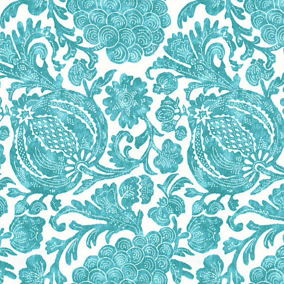 Turquoise Dappled Floral Indoor Outdoor Fabric
