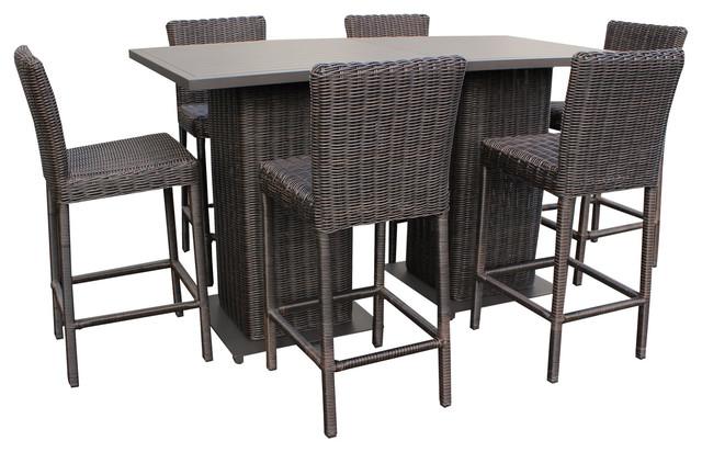 Amazing Rustico Pub Table Set With Barstools 8 Piece Outdoor Wicker Patio Furniture  Tropical Outdoor