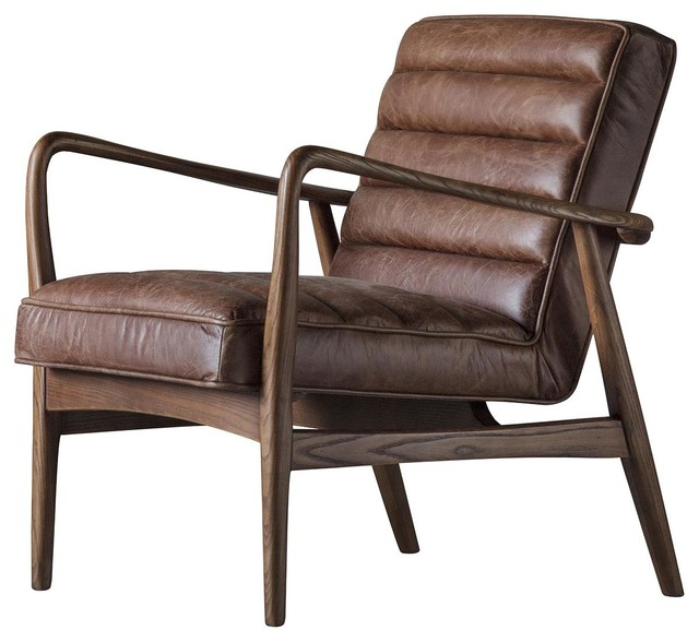 Datsun Leather Armchair, Vintage Brown