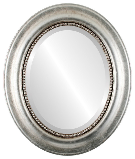 """Heritage Framed Oval Mirror In Silver Leaf With Brown Antique, 25""""x35""""."""