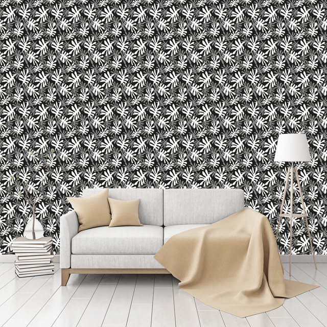leaves crisscross patterned peel stick textured wallpaper contemporary wallpaper by na. Black Bedroom Furniture Sets. Home Design Ideas