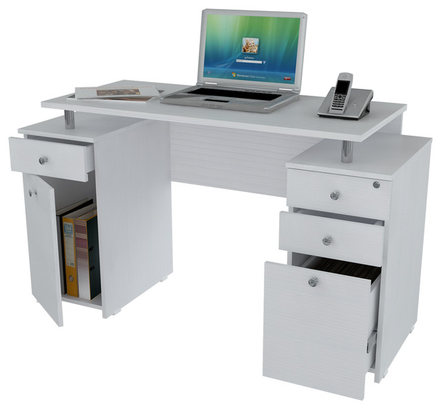 LaricinaWhite Computer Desk with File Drawer Contemporary