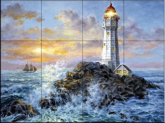Clipper Ship Surprise by Nicky Boehme Kitchen backsplash//Bathroom Shower Ceramic Tile Mural