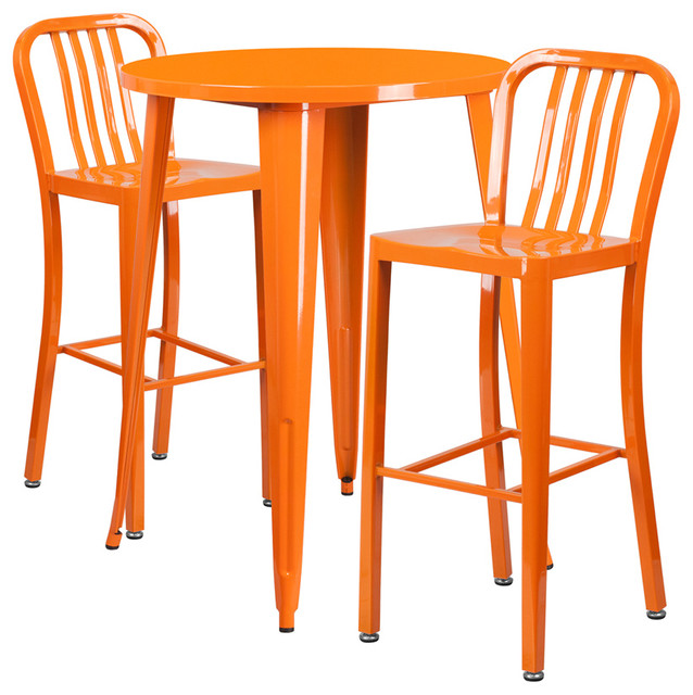 30u0026quot; Round Metal Bar Set - Contemporary - Outdoor Pub And Bistro Sets - by Flash Furniture
