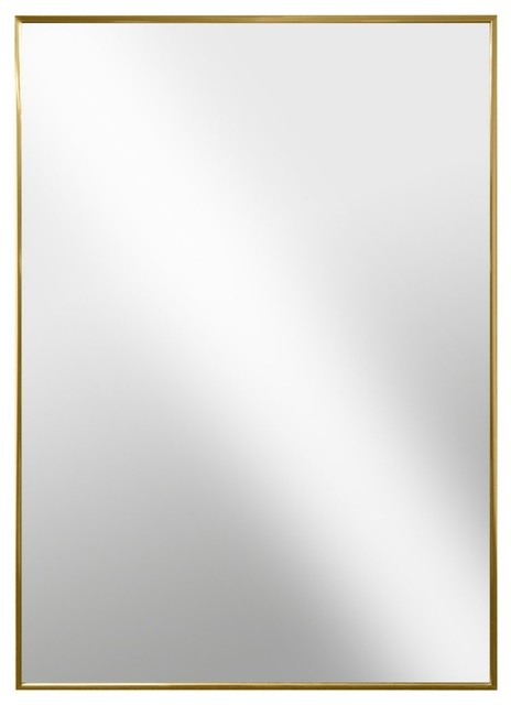 Modern Hanging Framed Wall Mounted Metal Mirror Gold Glossed Aluminum Contemporary Wall Mirrors By Netmart