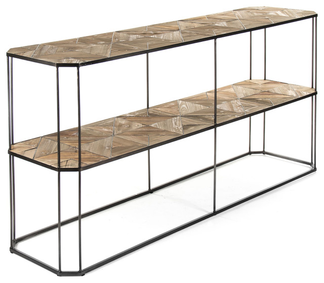 kieran reclaimed wood parquet industrial iron 2 tier sofa console table