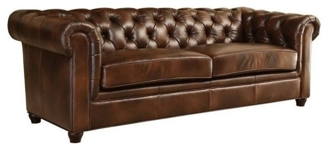 Bowery Hill Leather Sofa, Brown.