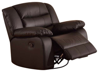 Aniyah Faux Leather Swivel Rocking Recliner Chair, Brown