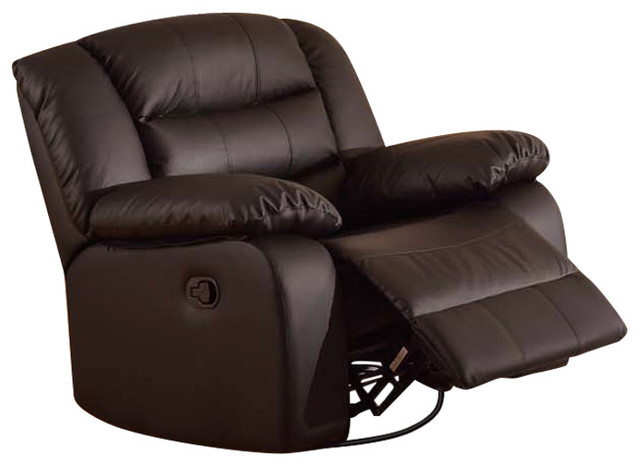 Aniyah Faux Leather Swivel Rocking Recliner Chair Brown transitional- recliner-chairs  sc 1 st  Houzz & Aniyah Faux Leather Swivel Rocking Recliner Chair - Transitional ... islam-shia.org