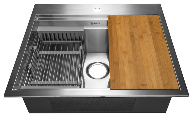 "Akdy 25""x22""x9"" Top Mount Handmade Stainless Steel Kitchen Sink."