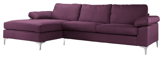 Cool Modern Large Linen Fabric Sectional Sofa With Extra Wide Chaise Purple Ncnpc Chair Design For Home Ncnpcorg