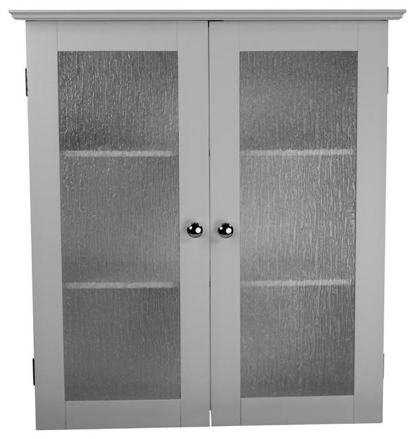 2 Glass Doors Wall Cabinet Transitional Medicine