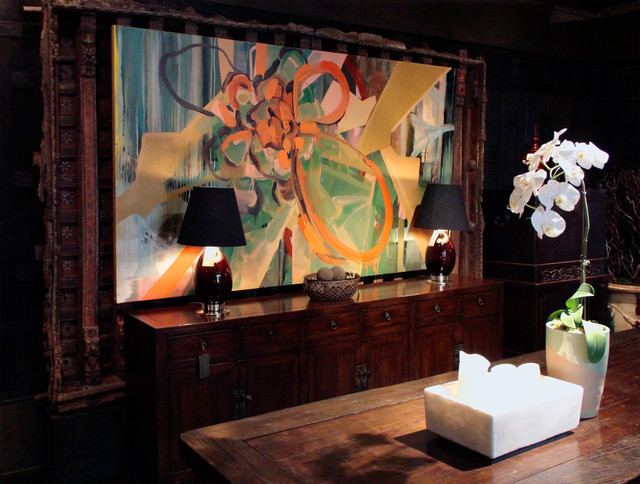 Installation view of large scale abstract oil painting for Dining room paintings