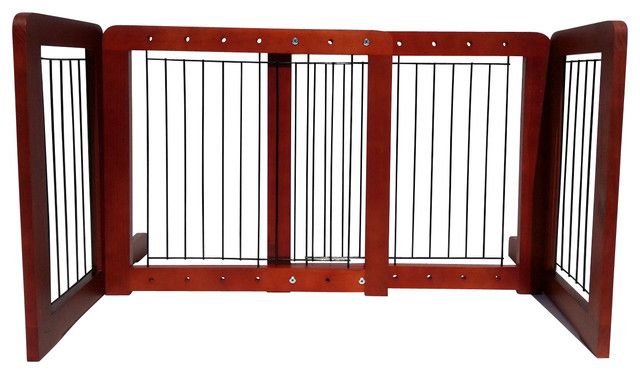 Wood Freestanding Adjustable Pet Gate Contemporary Dog