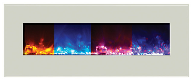 """Amantii Wall Mount Built-In White Glass Surround Electric Fireplace 48""""."""