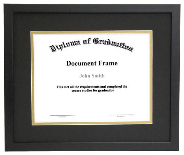 diploma and document frame with matting thin black wood black and gold matting contemporary - Document Frame