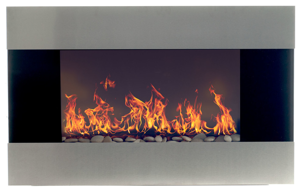 Admirable Wall Mounted Electric Fireplace With Remote Stainless Steel 36 Download Free Architecture Designs Intelgarnamadebymaigaardcom