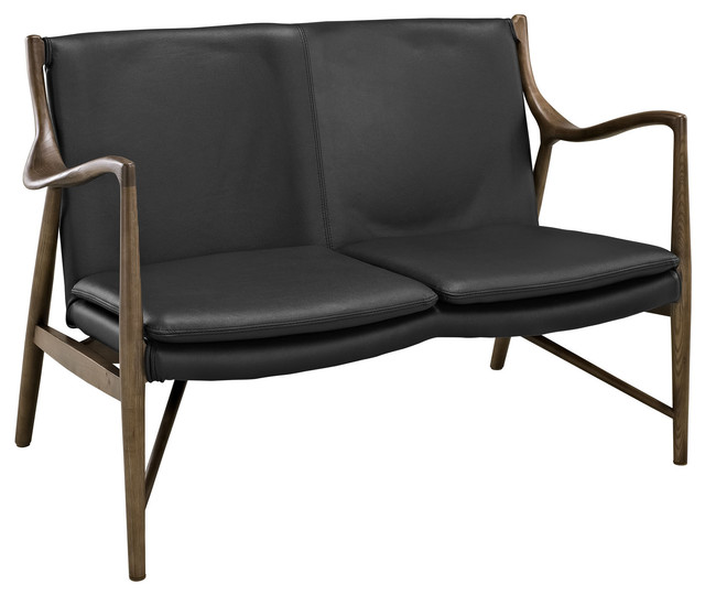 Cool Makeshift Mid Century Modern Leather Loveseat In Walnut Black Bralicious Painted Fabric Chair Ideas Braliciousco