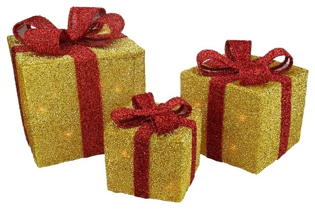 Gift Boxes With Bows Christmas Decorations, 3-Piece Set, Gold/Red