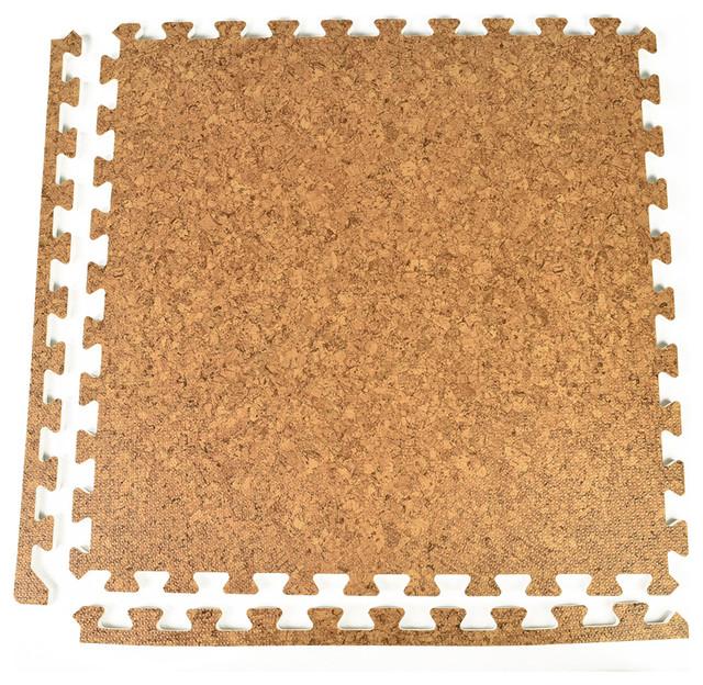 24x24 Wood Grain And Cork Interlocking Foam Floor Tiles Set Of 25