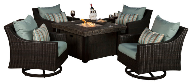 Deco 5 piece motion fire chat set transitional outdoor lounge sets by rst brands - Deco lounge blue duck ...