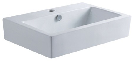Kingston Brass Clearwater White China Vessel Bathroom Sink With Overflow Hole.