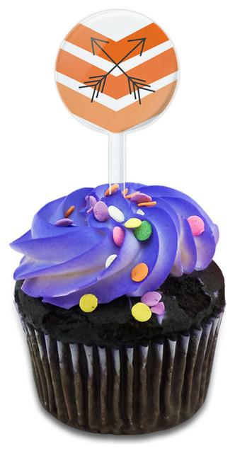 Orange Chevrons & Arrows Cupcake Toppers Picks Set.