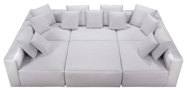 Modular Miami Bonded Leather, 6 Piece Set, White