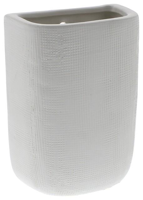 Ceramic White Tall Wall Pocket Vase Set Of 6 Decorative Flowers