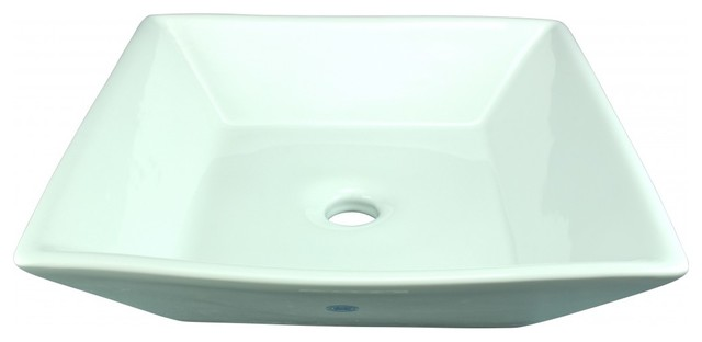 Above Counter Square Bathroom Vessel Sink White Porcelain Art Basin