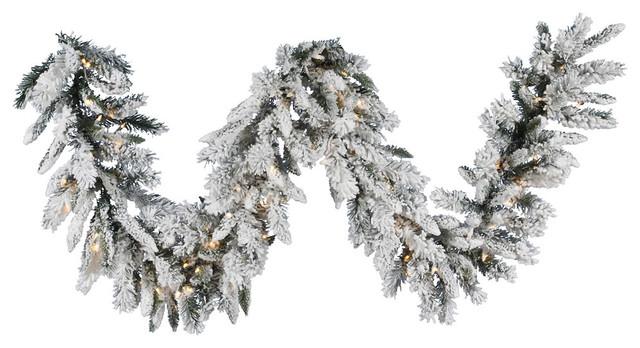 "16""x9' Flocked Snow Ridge Garland, Clear Lights"