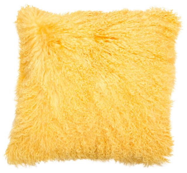 "18"" Mongolian Curly Lamb Fur Pillow, Goldenrod."