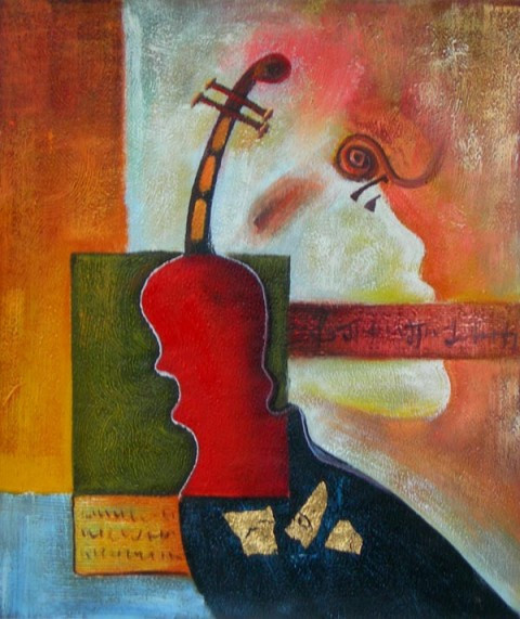 The Violin Abstract Oil Painting - Paintings - by Tapestry ...