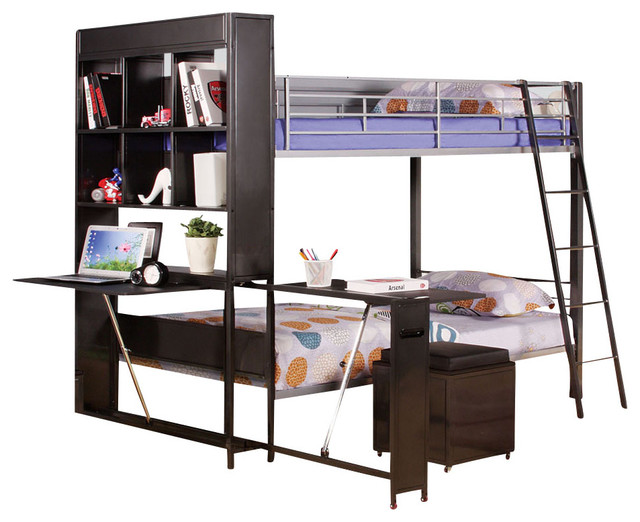 Youth Espresso Twin Bunk Bed With Bookcase Writing Desk Storage Ottomans Ladder